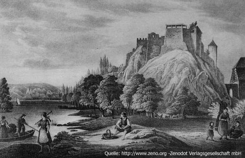 Burg Giebichenstein, Carl Wilhelm Arldt, Lithographie von 1848