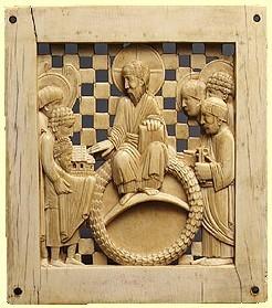 Stifterbild aus der Gruppe der Magdeburger Elfenbeinplatten. Otto I. übergibt den Dom an Christus.