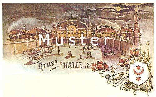 Historische Ansicht des Halleschen Hauptbahnhofs